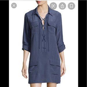 Equipment Femme 100% Silk Lace Up Tie Shirt Dress